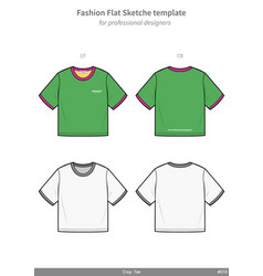 Croptop teeshirt fashion flat technical drawing vector