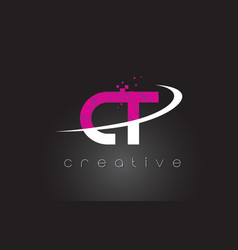 Ct c t creative letters design with white pink vector