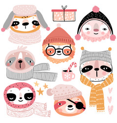 Cute sloths in winter clothes childish characters vector