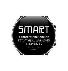 cyrillic sans serif font in cyber style vector image