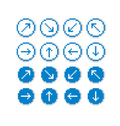 different arrows pixel icons isolated collection vector image