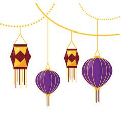 Diwali fest lamps hanging ethnicity icon vector