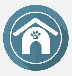 dog house icon on white circle with a long shadow vector image