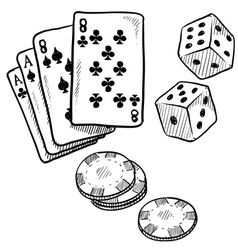 Doodle gambling poker cards dice luck vector