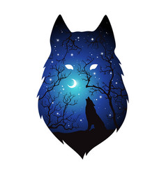 Double exposure silhouette wolf in night vector