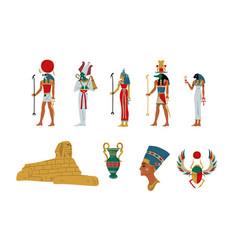 egypt ancient symbols gods and goddess set vector image