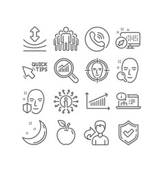 Face search chart and group icons quick tips vector