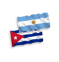 Flags cuba and argentina on a white background vector