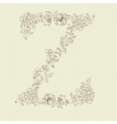 floral font letter z vector image