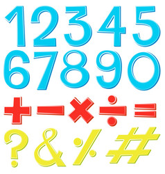 Font design for numbers and signs vector