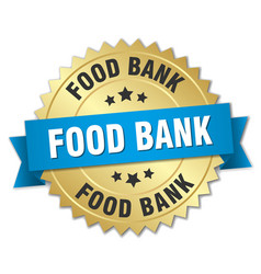 Food bank 3d gold badge with blue ribbon vector