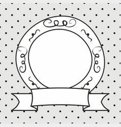 Frame on polka dots grey background vector