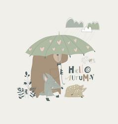 Funny animals under umbrella autumn time rainy vector