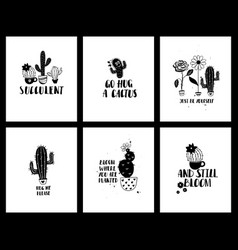 graphic set of funny cacti cards and lettering vector image