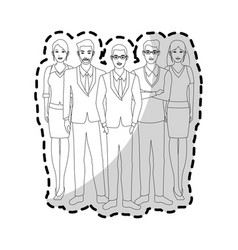 Group of young nice looking people in office vector