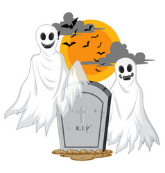 Halloween ghosts with headstone on white vector