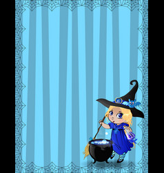 halloween template with witch girl bat and vector image
