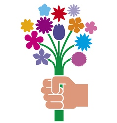 hand giving flower bouquet vector image