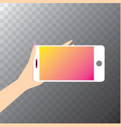 Hand holding white smart phone vector