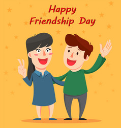 Happy friendship day greeting card friends vector