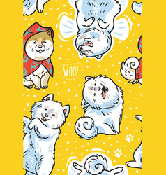 Happy samoyed puppies in the snow endless vector