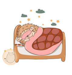 hedgehog sleeping in bed isolate on a white vector image