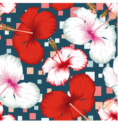 hibiscus seamless multicolor square blue vector image