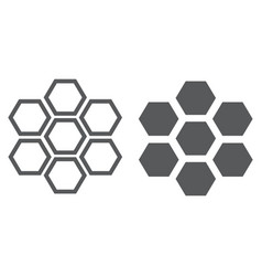 honeycomb line and glyph icon bee and honey vector image