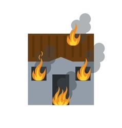 House fire bursts windows roof vector