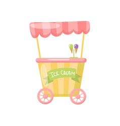 Ice cream cart on wheels food kiosk cartoon vector