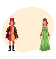 italian man and woman in renaissance time costumes vector image