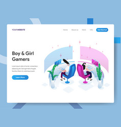 landing page template boy and girl gamers vector image