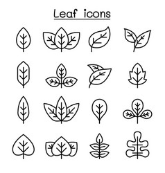Leaf icon set in thin line style vector