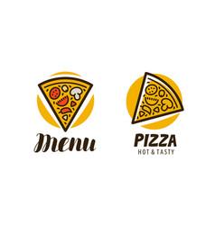 logo slice pizza food symbol or label vector image
