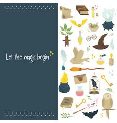 Magic banner poster with set magic symbols vector