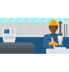 Man working with industrial equipment vector
