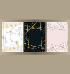Marble a4 card with gold line set vector