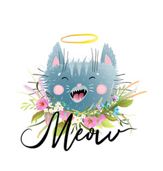 meow cat head lettering and flowers shirt design vector image