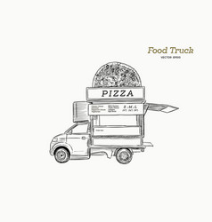 Mobile food truck van with pizza vector