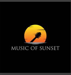 music guitar silhouette sunrise sunset logo design vector image