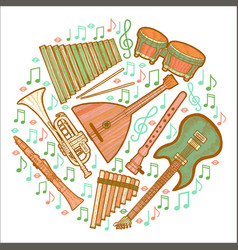 Musical instruments round composition in hand vector