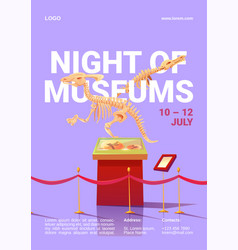 Night museums poster with dinosaur skeleton vector