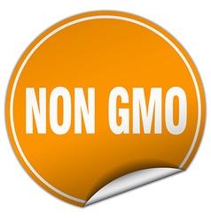 Non gmo round orange sticker isolated on white vector
