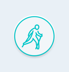 Nordic walking line icon healthy lifestyle outdoor vector