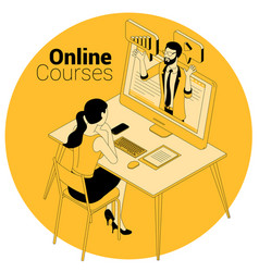 online courses education training concept vector image