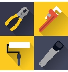 paint brush wrench saw pliers tool icon vector image