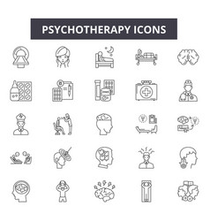 psychotherapy line icons signs set vector image