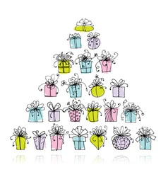 Pyramid from gift boxes for your design vector image