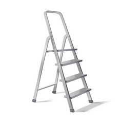 Realistic 3d detailed metallic step ladder vector
