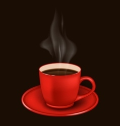 Red coffee mug with vapor vector